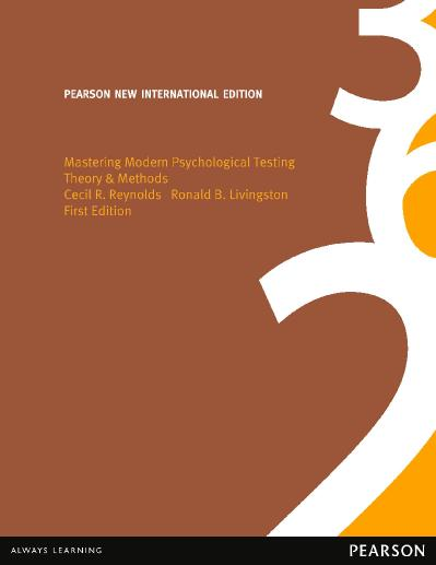 Mastering Modern Psychological Testing Pearson New International Edition Theory  M...