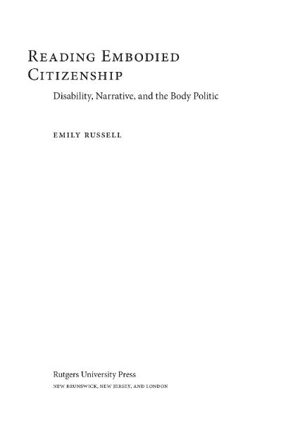 Reading Embodied Citizenship Disability, Narrative, and the Body Politic